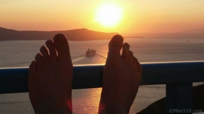 My feet at sunset in Santorini - Greece